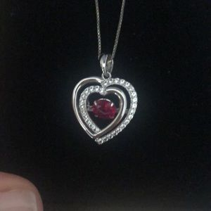 Kay jewelers Ruby heart diamond necklace